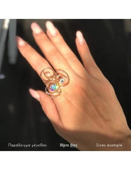 Statement Ring mit Strassteinen und Perle rose gold VITRIS 2