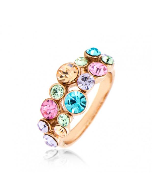 Μεγαλό Statement Δαχτυλίδι με ζιργκόν ροζ χρυσό OLGA