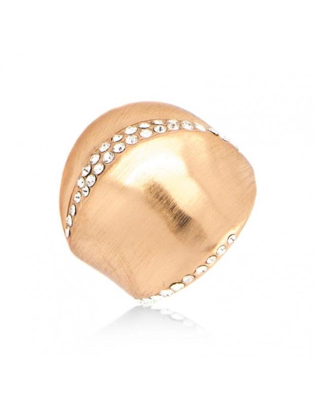 Μεγαλό Statement Δαχτυλίδι με ζιργκόν ροζ χρυσό NONA