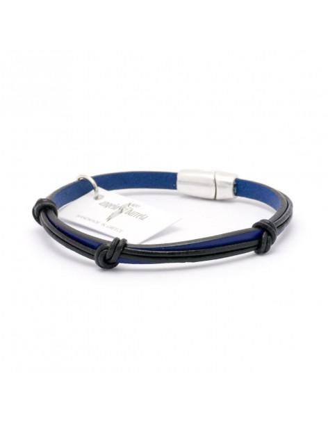 Angelo Barreta Herren Leder Armband blau schwarz PASAS