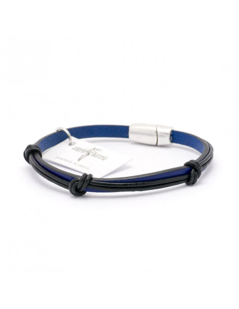 Angelo Barreta men´s leather bracelet blue black PASAS