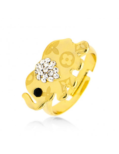Elephant ring with crystals gold BAMBO