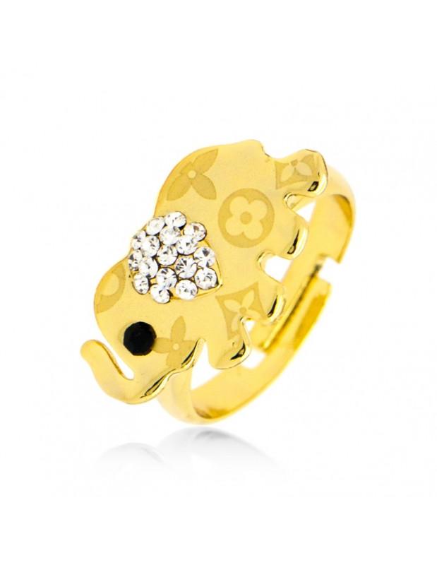 Δαχτυλίδι ελέφαντας με ζιργκόν χρυσό BAMBO