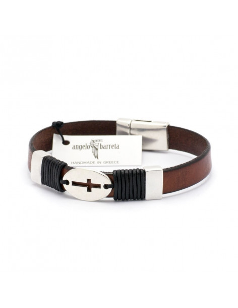 Angelo Barreta Herren Leder Armband mit Kreuz braun SAMOS