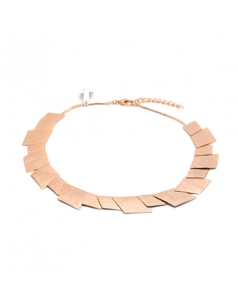 Collar necklace of rose gold plated bronze JORD
