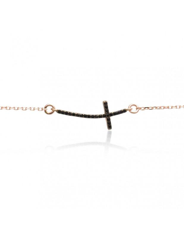 Silber Armband mit Kreuz rosegold SARAI