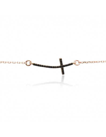 Silver bracelet with cross rose gold plated SARAI