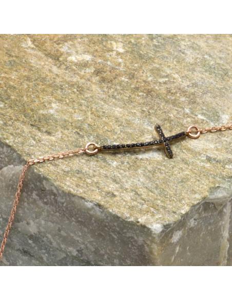 Silber Armband mit Kreuz rosegold SARAI 3