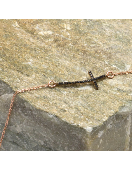 Silver bracelet with cross rose gold plated SARAI 2