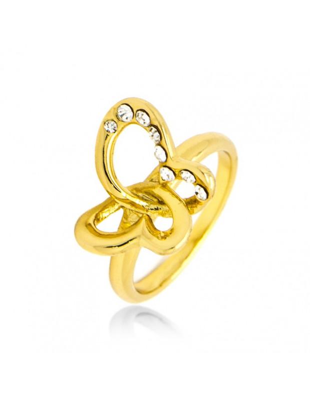 Ring mit Zirkonia Steinen gold PLATIN