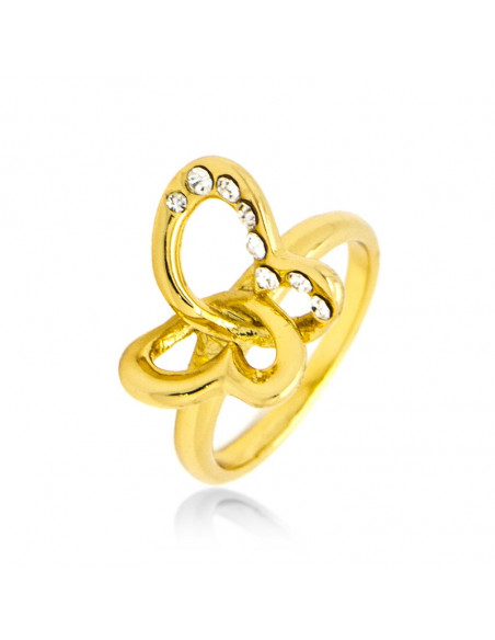 Ring with cubic zriconia handmade gold plated PLATIN
