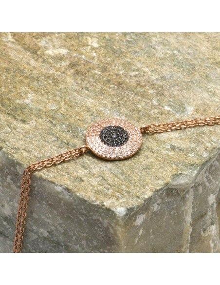 Βραχιόλι ματάκι από ασήμι 925 ροζ χρυσό ERMIS 3
