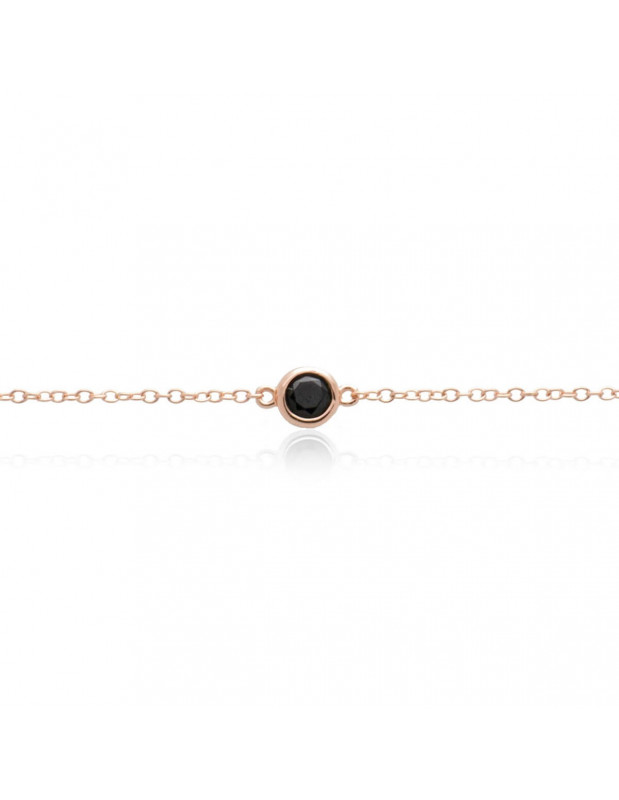 Silber Armband mit schwarzem Zirkon rosé gold TRESIN