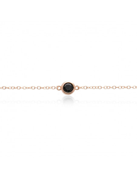 Silver bracelet with black zirconia stone rose gold plated TRESIN