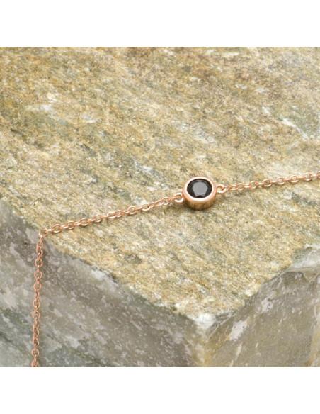 Βραχιόλι από ασήμι 925 με μαύρο ζιργκόν ροζ χρυσό TRESIN 3