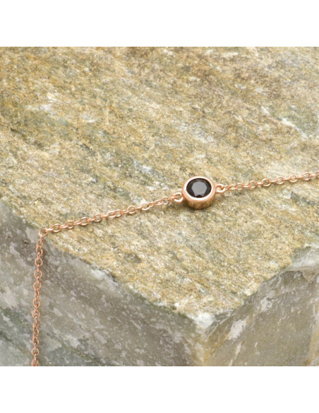 Silver bracelet with black zirconia stone rose gold plated TRESIN 3