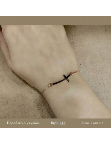 Silver bracelet with cross rose gold plated SARAI 4