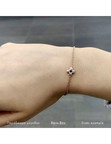 Βραχιόλι σταυρό από ασήμι 925 ροζ χρυσό A20140790 2