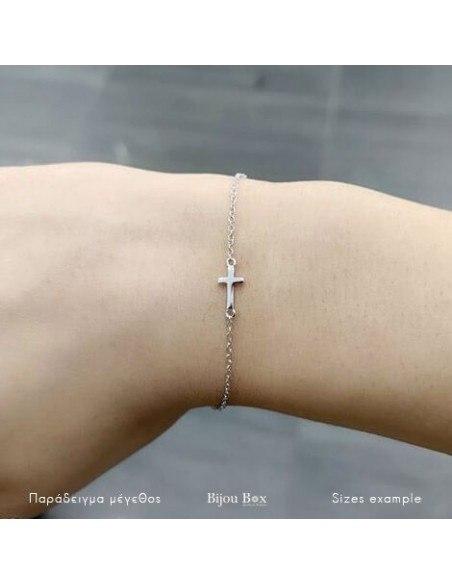 Βραχιόλι σταυρό από γνήσιο ασήμι 925 A20140816 2