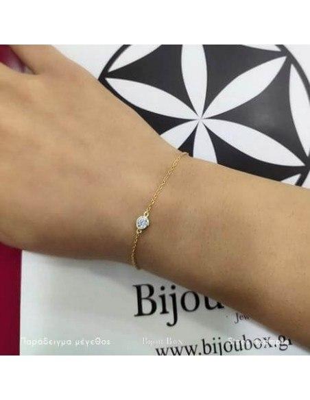 Silberarmband vergoldet mit Zirkonia Stein A20140828