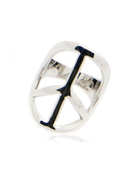 "RING ""PEACE"" 18K WEISSGOLD VERGOLDET"