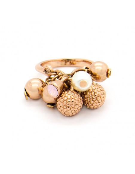 Δαχτυλίδι με κρεμαστά ρoζ χρυσό PENDANTS
