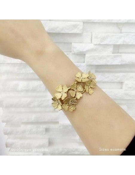 Greek Designer bangle bracelet gold FLOWERS 2