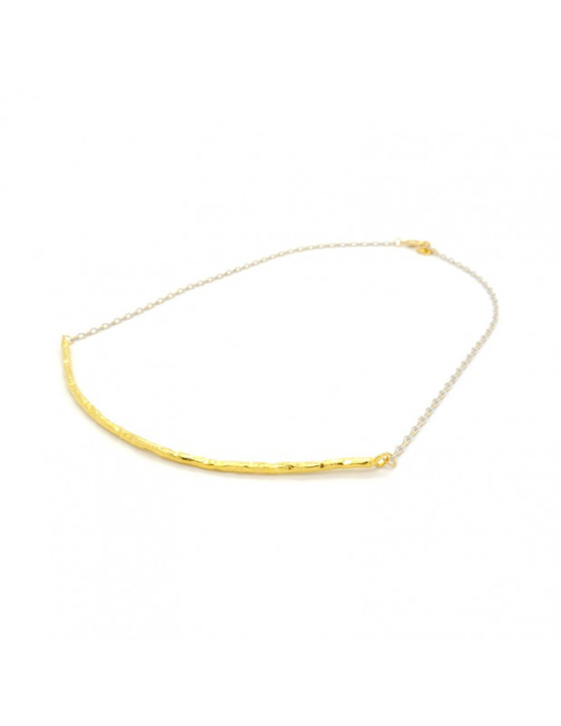"NECKLACE BRONZE GOLD PLATED HANDMADE ""STICK"""