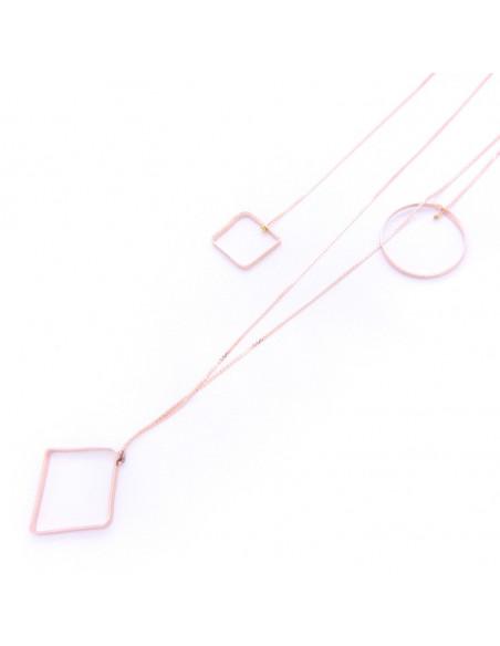Μακριά Κολιέ με στοιχεία από μπρούτζο ροζ χρυσό RENA