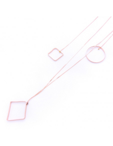 Long Necklace with bronze elements rose gold RENA