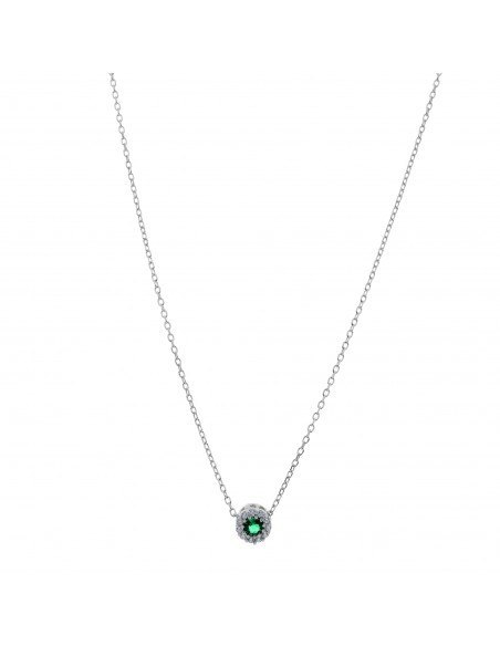 Necklace sterling silver with green Zirconia pendant H20141156