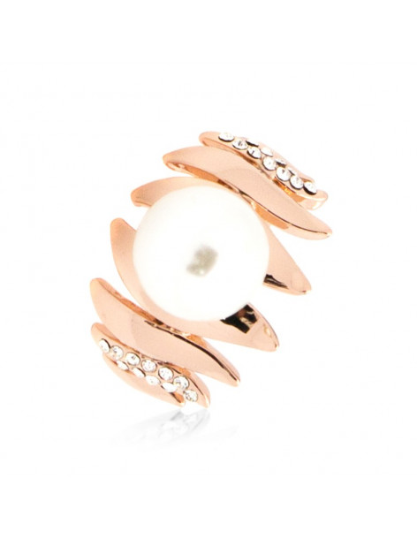 Ring rose gold plated PEARLA