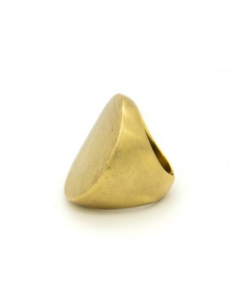 Μεγάλο δαχτυλίδι από μπρούτζο χειροποίητα χρυσό RHO