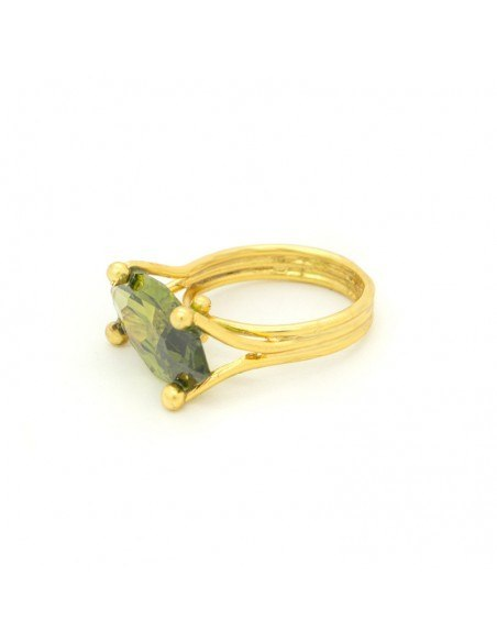 Solitaire ring of bronze with green crystal gold KANA