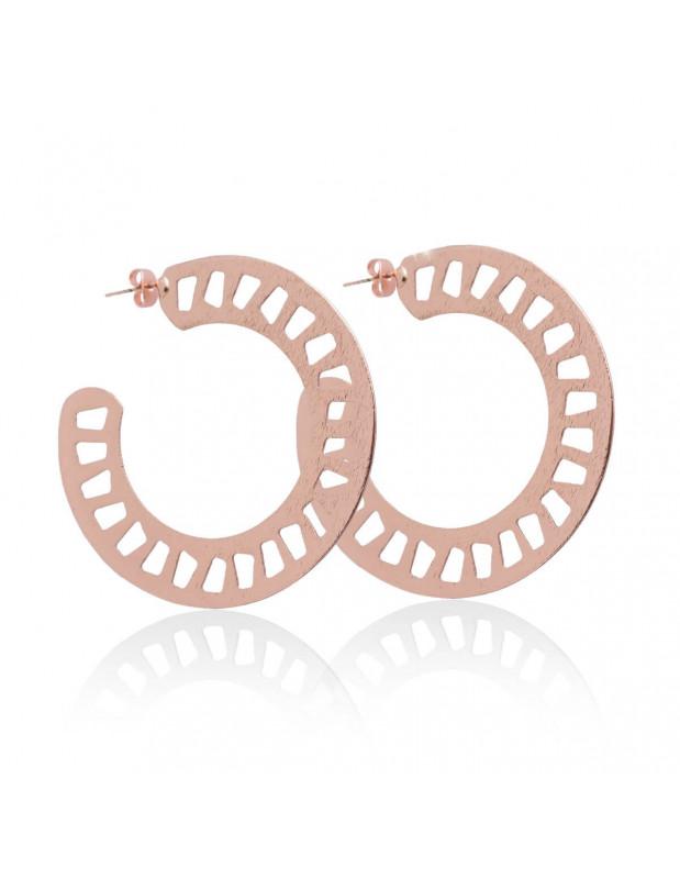 Σκουλαρίκια κρίκοι αρχαιοελληνικά από μπρούτζο ροζ χρυσό NINO