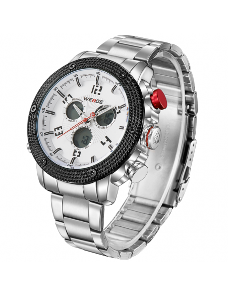 Men's wrist watch WEIDE 10122 with silver stainless steel band 3