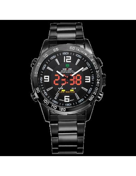 Ρολόι ανδρικό WEIDE 10332 με μαύρο μεταλλικό μπρασελέ 2