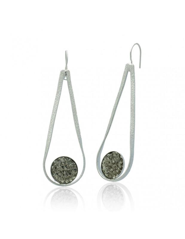 Long Earrings with crystals handmade silver BERLOI