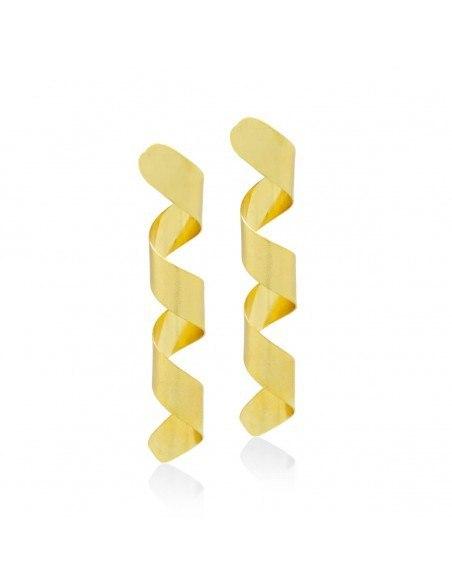Lange Ohrringe aus Bronze handgemacht gold ΚΙΟ