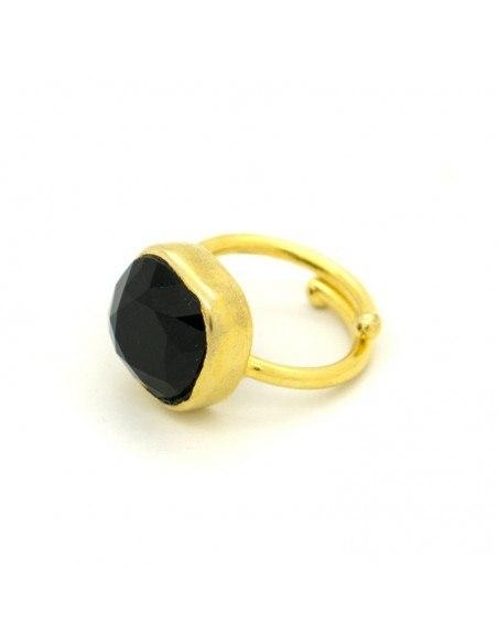 Μονόπετρο δαχτυλίδι με μαύρο ζιργκόν χρυσό CAPRI