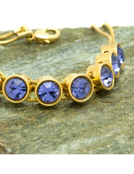 Bracelet with purple crystals gold RIVE
