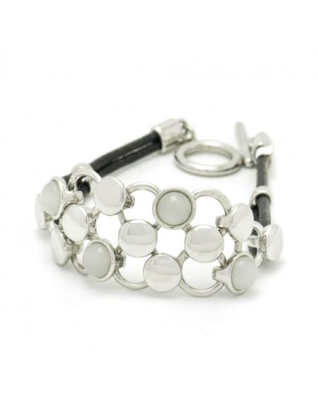 Fabric Bracelet with crystals silver PLEGMA II