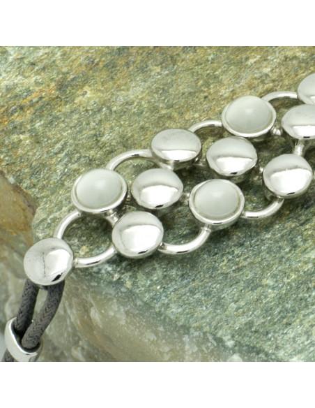 Fabric Bracelet with crystals silver PLEGMA II 2