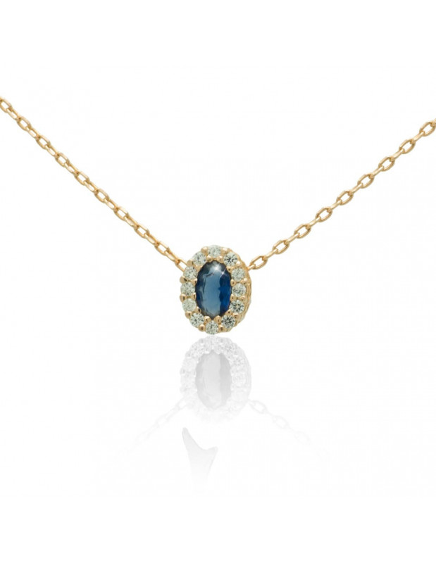 Silver Necklace with blue crystal rose gold CELOI