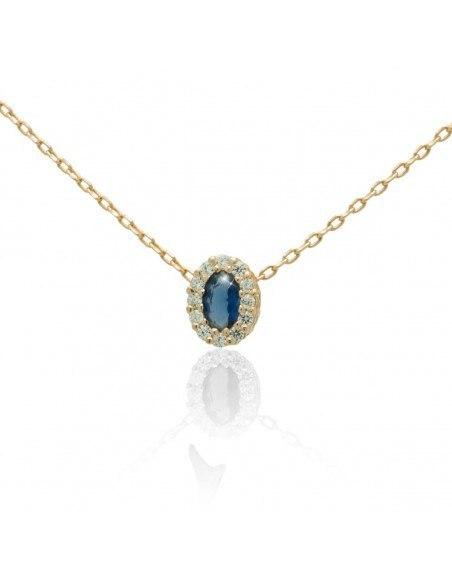 Silber Halskette mit blauem Zirkon rosegold CELOI