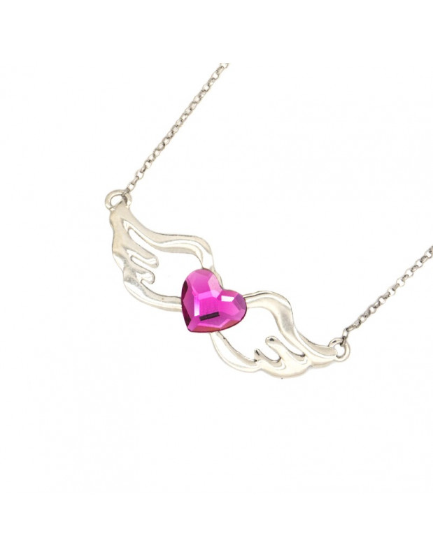 Silver necklace with pink heart crystal WING