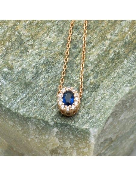 Silber Halskette mit blauem Zirkon rosegold CELOI 2