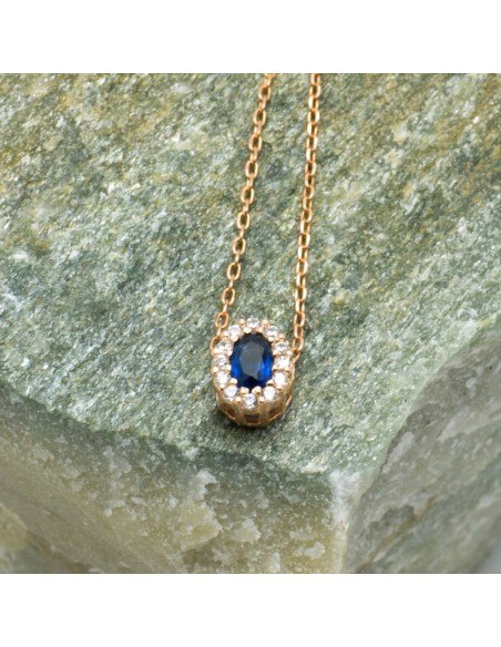 Silver Necklace with blue crystal rose gold CELOI 2