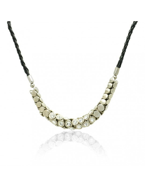 Leather Necklace with crystals silver SAVOIR