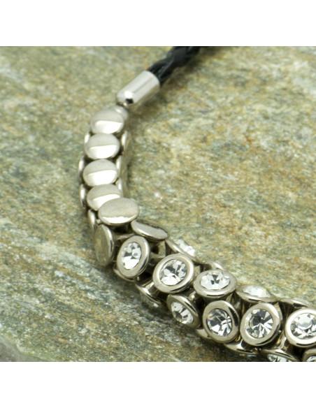 Leder Halskette mit Zirkonen silber SAVOIR 2